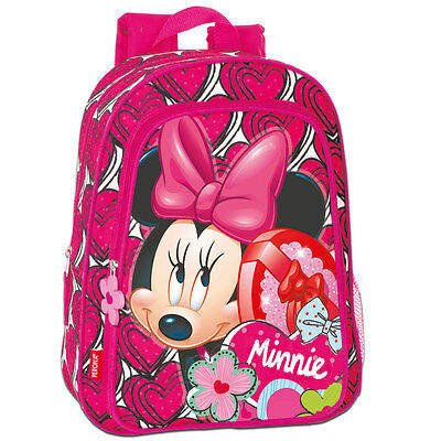 Disney Minnie Mouse HEARTS Medium Backpack Rucksack Travel School Girls Pink Bag