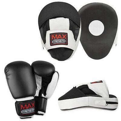Boxing Bag Gloves and Curved Focus Pad Sets MMA Training Mitts Sparring Hook Jab