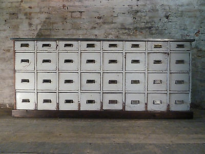 Antique Haberdashery Bank of Pine Drawers Apothecary Vintage Industrial Cabinet