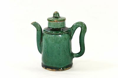 Antique Chinese Green Ceramic / Pottery Teapot / Wine Pot, Qing Dynasty, 19th c