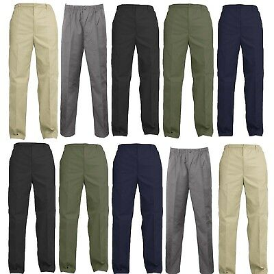 Mens Elasticated Waist Work Casual Rugby Trousers Pants Smart Rugby Trousers