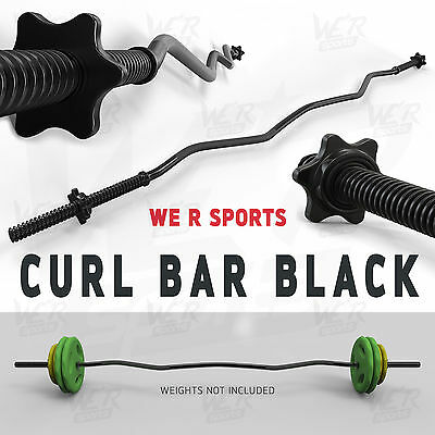 """Curl Bar With Spinlock Collars Weight Lifting Gym Fitness EZ 1"""" Barbell Black"""