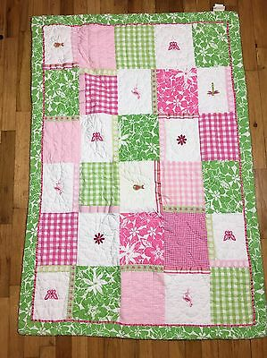 POTTERY BARN KIDS CRIB TODDLER BED QUILT FLOWERS Pink Green Flamingo Floral