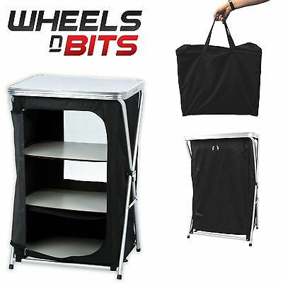 Folding Travel Cabinet Camping 3 Shelf Storage Unit Shelving Organiser Equipment