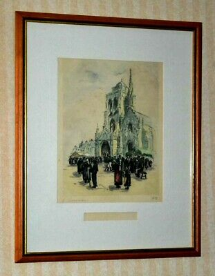 Vintage Framed Print 'Church of Saint Ronan Calvary' (Brittany, France) [PL3211]