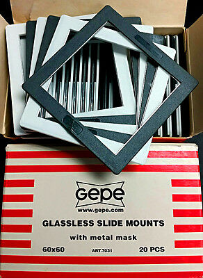 NEW 2 Boxes of Gepe 7031 60x60 Glassless Slide Mounts for 6x6 medium format 120