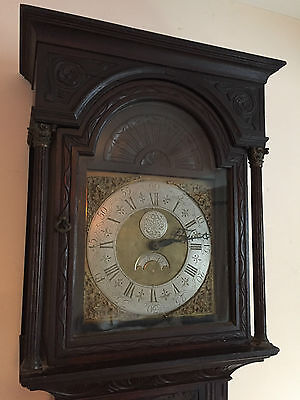 Antique Carved Oak Georgian Long case Grandfather Clock