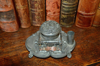 Antique French Pewter Crystal Cherub Inkwell with Pen Rest