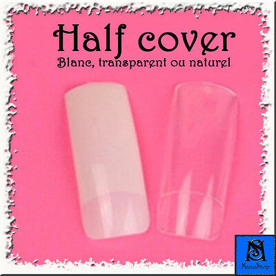 Faux-ongles manucure HALF COVER x120/x240/x360/x500 + colle 2g. - FO