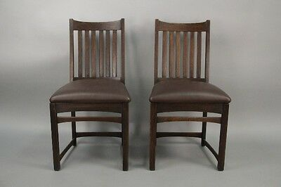Pair 1910 Arts & Crafts Oak Wood Side Chairs Antique Craftsman Seat (10212)