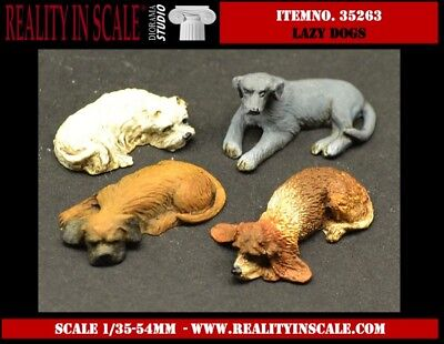 Reality In Scale 1:35 Lazy Dogs - 4 Resin Dog Figures Diorama Accessory #35263