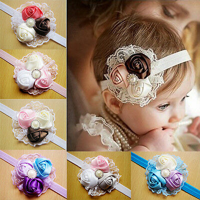 New Baby Kids Girls Headband Lace Rose Flower Hair Band Hair Accessories