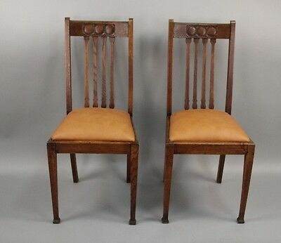 Pair 1910 Arts & Crafts Carved Wood Side Chairs Antique Craftsman Seat (10205)