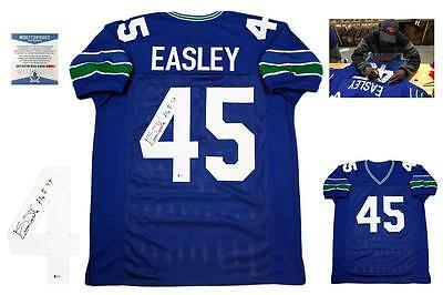 26bbc47b3 Kenny Easley Autographed SIGNED Custom Jersey - Beckett Authentic w  Photo  HOF