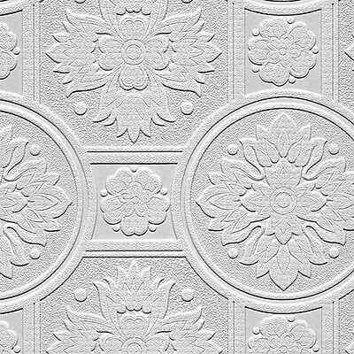 Paintable Wallpaper Ornate Tile Heavy Texture 56 Sq Ft Roll 48930