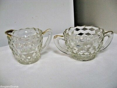 2-pc Vintage Jeannette Clear Glass Cube/Cubist Cream & Sugar Bowl Set