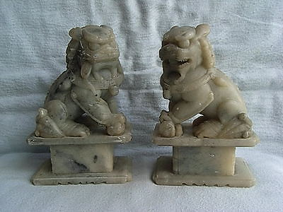 Antique Chinese Pair Soapstone Temple Foo Dogs