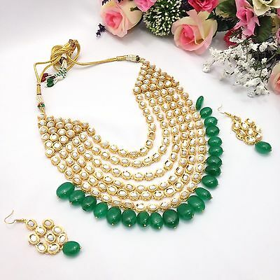 New Indian Bridal Jewellery Bollywood Asian Handmade Kundan Necklace Set