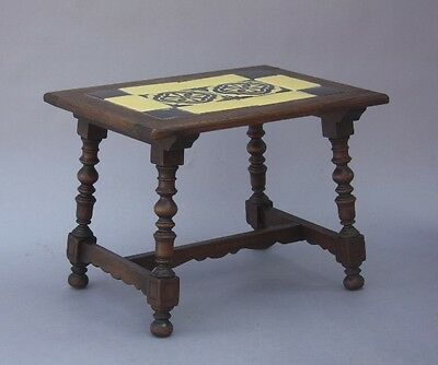 1920s Antique Catalina Tile & Wood Table Vintage Spanish Revival Tudor (9486)