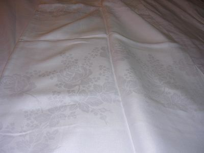 "#RT Antique FABULOUS Irish White Linen Damask Tablecloth 71x 85"" Rose Motif"