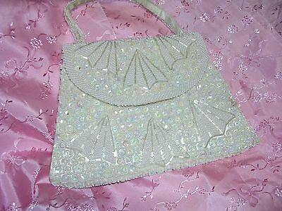 Vintage White Beaded Evening Handbag Bridal Purse Made Hong Kong for Winkelmans