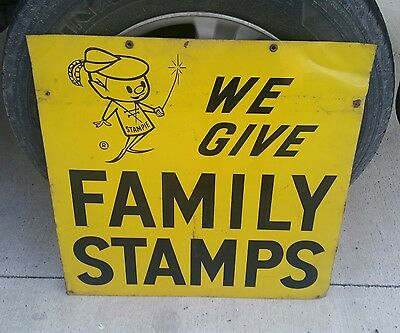 "Vintage  ""we Give Family Stamps"" Metal Sign ""mr. Stampie"" 2 Sided Old Retro"