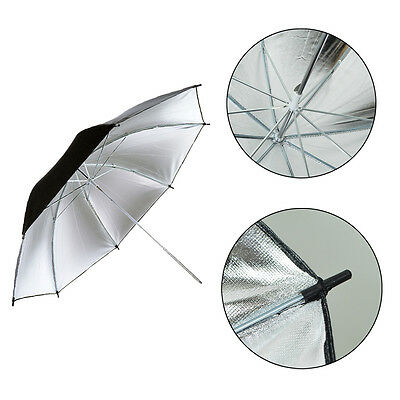 "Studio Photography 33"" Reflective Black/Silver Umbrella for Flash Shoot Lighting"
