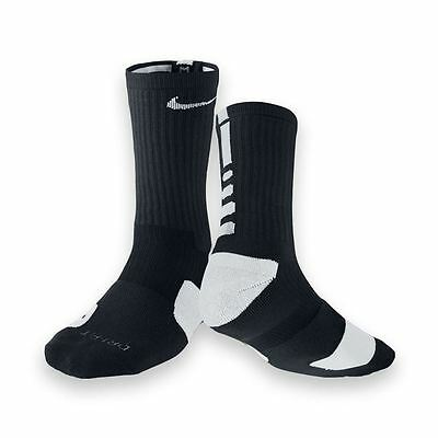 Nike Elite Cushioned Basketball Socks Color: Black/White Unisex and Youth [ L ]