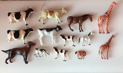 Lot 13 Small Plastic Vintage Animals, 7 Cows, 2 Giraffes, Donkey, 2 Horses, Dog
