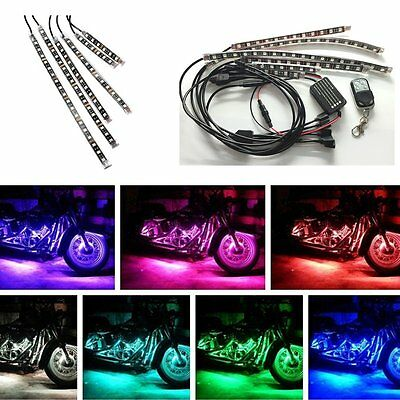 18 Color 6pcs RGB Motorcycle ATV Flexible Strip LED Light Lamp NEON Remote Kit