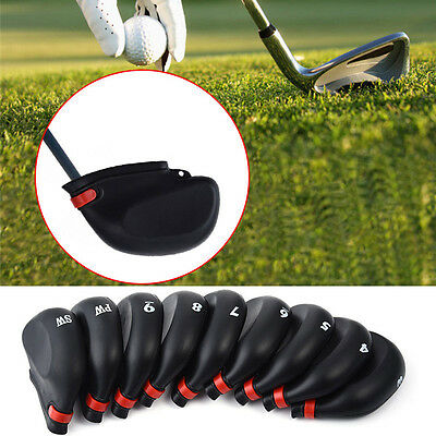 9Pcs Black Rubber Golf Clubs Iron Head Covers 3-9 PW SW Golf  Iron Protective