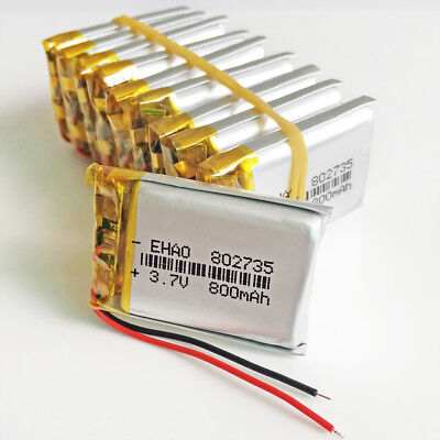 10 pcs 800mAh 3.7V Lipo Li-Polymer Battery 802735 For Mp3 Recorder GPS PDA DVD