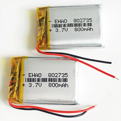 2 x 800mAh 3.7V Lipo Polymer Battery 802735 For Mp3 Recorder GPS PDA Camera DVD