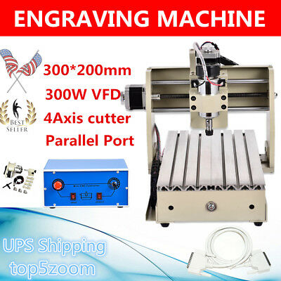 4AXIS CNC ROUTER 3020 ENGRAVER ENGRAVING Drilling CARVING 3D CUTTER MACHINE 300W