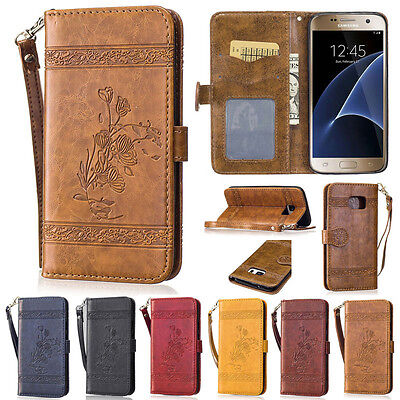 Retro Rose Wallet Leather Flip Case Cover For Samsung A5 2017 J5 2016 S7 S8 S9