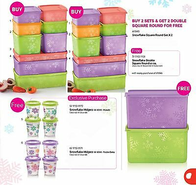 New Tupperware snowflake square round fridge container set (18) + 10 free gifts