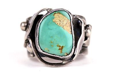 Old Vintage Navajo Sterling Silver Turquoise Ring
