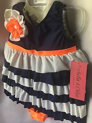 Isobella  And Chloe Girls 2 Piece Ruffle Tankini Swimsuit Size 3T- New