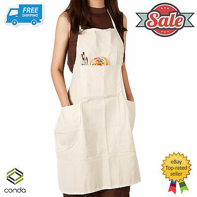 Artist Adult Conda Extra Large Cotton Canvas In-Adjustable Bib Apron 4 Pocket