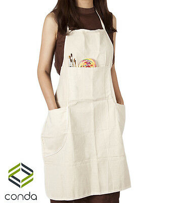 3 Pcs Artist Adult Conda Large Cotton Canvas In-Adjustable Bib Apron 4 Pocket
