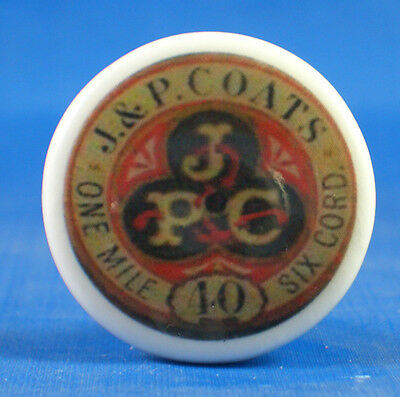 1 inch China Collectable Sewing Button -- J & P Coats Sewing Thread