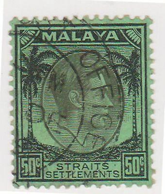 (MS-84) 1937 Malaya 50c green& black KGV (B)