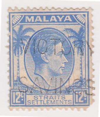 (MS-81) 1937 Malaya 12c blue KGV (B)