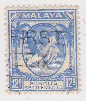 (MS-80) 1937 Malaya 12c blue KGV (A)