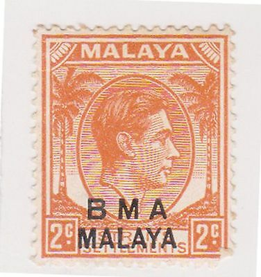 (MS-92) 1945 Malaya BMA O/P 2c orange &black KGV (B)