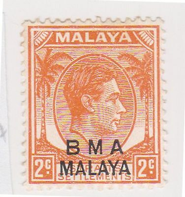 (MS-93) 1945 Malaya BMA O/P 2 orange &black KGV (C)