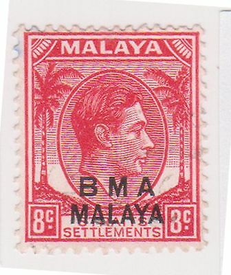 (MS-119) 1945 Malaya BMA O/P 8c red& black KGV (G)
