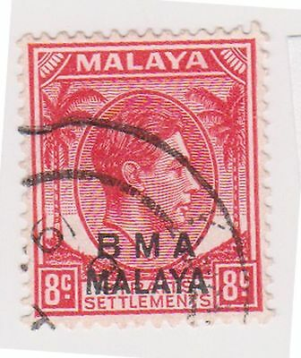 (MS-117) 1945 Malaya BMA O/P 8c red & black KGV (E)