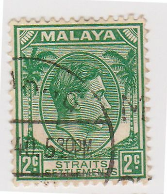 (MS-66) 1937 Malaya 2c green KGV (B)