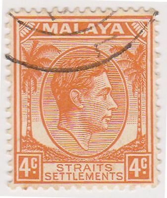 (MS-69) 1937 Malaya 4c orange KGV (B)